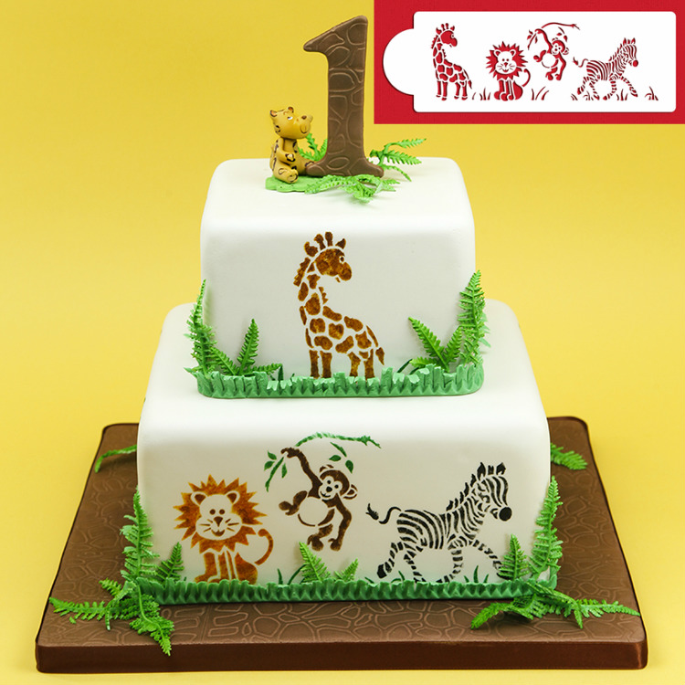 Cake Decorating Flower Templates : Jungle Animals   Stencil Itacakes - Part 1