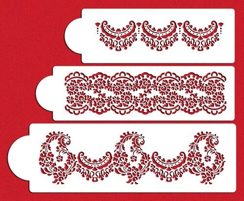 Alecon Lace Cake 3 Tier Set Stencil Itacakes