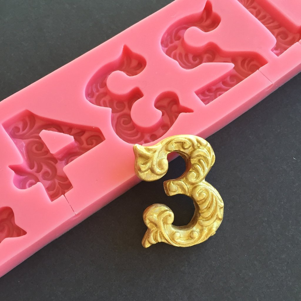 fancy filigree number silicone mold